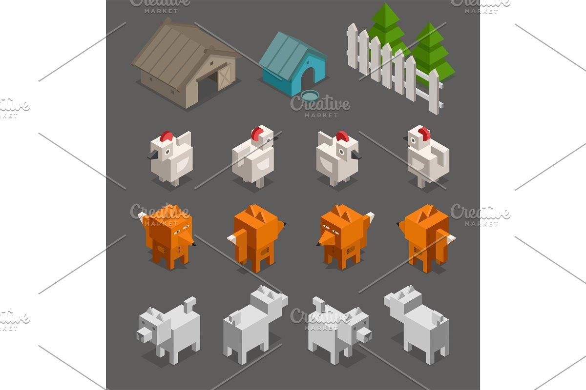 fox chicken end dog character 3d