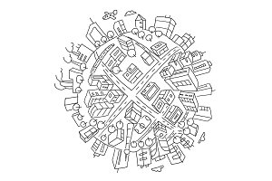 Round city buildings illustration world planet Earth. Hand drawn vector stock outline illustration. The city on the ball. Like a fisheye.