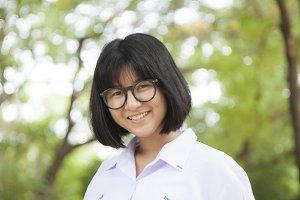 Portrait of Asian schoolgirl