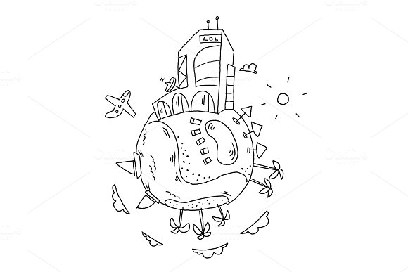 Resort hotel Round fantasy illustration sea tourism holidays world planet Earth. Yacht and palm islands. Hand drawn vector stock outline illustration.