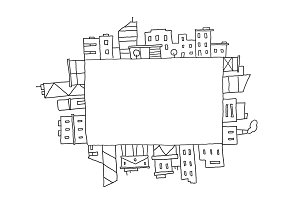 City panorama drawing in rectangular square area. Place for text. Hand drawn sketch vector stock line illustration. Building architecture landscape.
