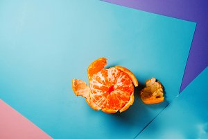 orange mandarin orange. useful fruit. view from above. minimalism
