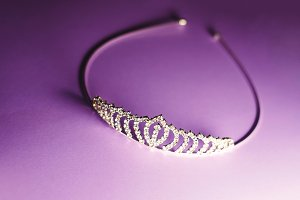 diadem with diamonds. crown for real queens. purple background