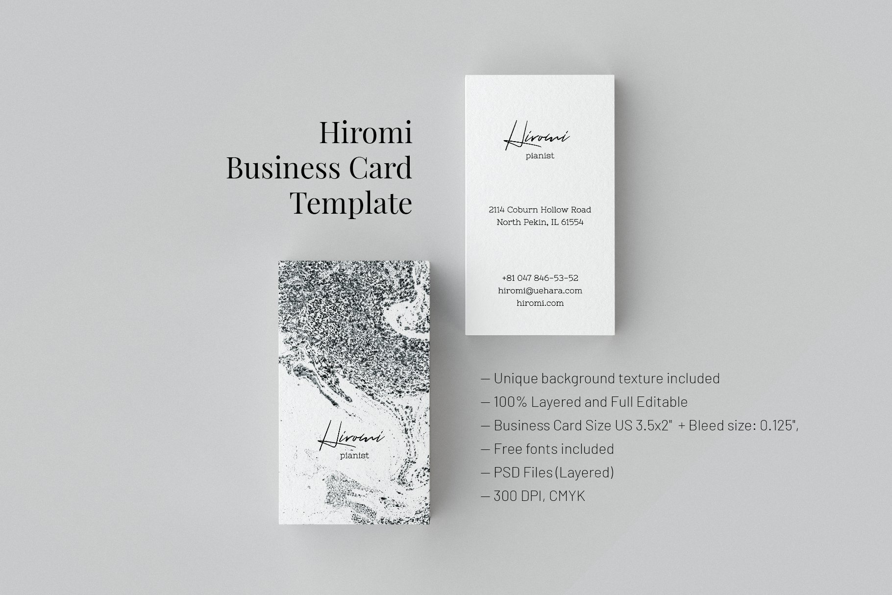 Hiromi business card template business card templates creative business card template business card templates creative market accmission Choice Image