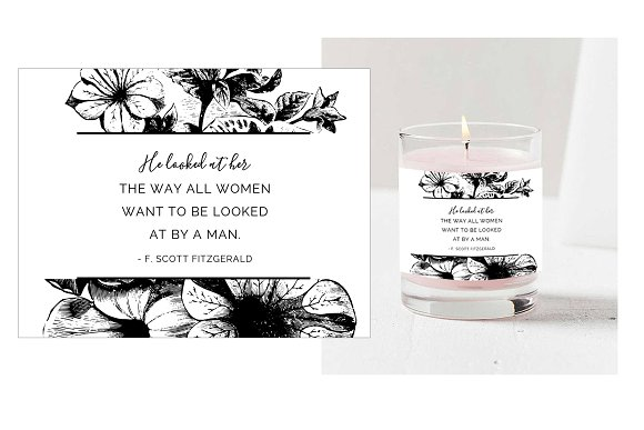 Love Quote Candle Label PSD