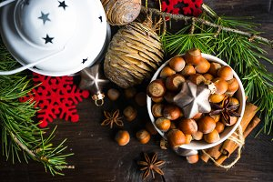 Christmas holiday concept with nuts