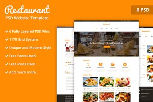 Orange Restaurant PSD Template