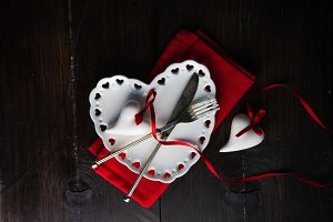 Table setting for St. Valentines day