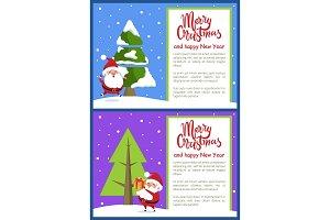 Merry Christmas Happy New Year Poster Santa Tree