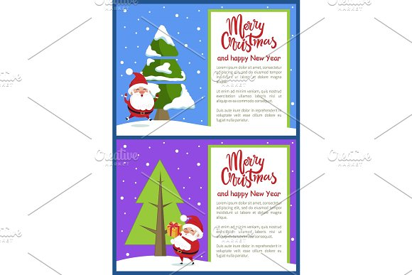 Merry Christmas Happy New Year Poster Santa Tree