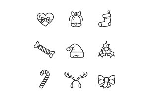 Winter Theme Set of Icons Vector Illustration
