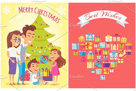 Merry Christmas and Family Vector Illustration