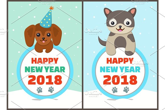 Happy New Year Collection Vector Illustration