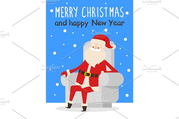 Merry Christmas Happy New Year Poster Santa Snow