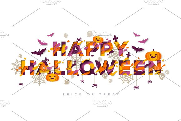 Halloween typography design with pumpkins