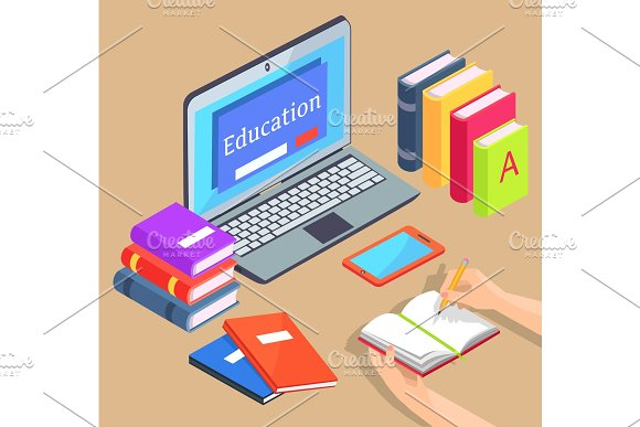 Online & Distance Education Isolated Illustration