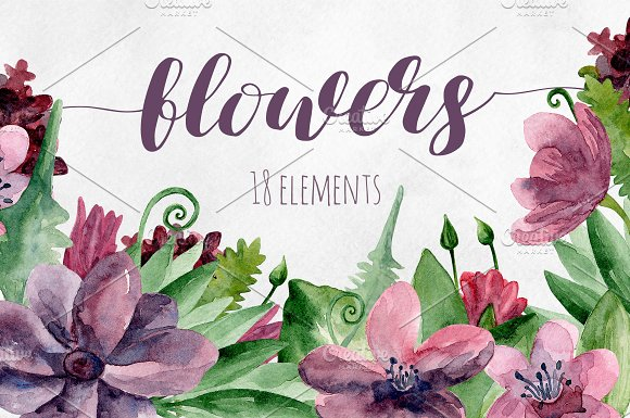 Watercolor purple flowers clip art in Illustrations