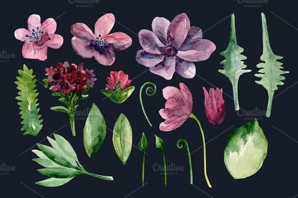 Watercolor purple flowers clip art in Illustrations - product preview 2