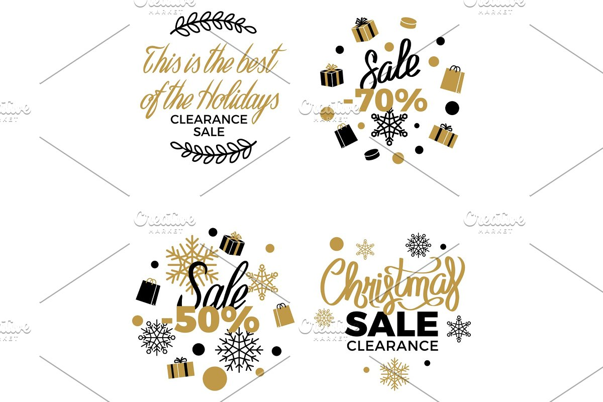 Best Christmas Clearance Discount Labels Poster in Objects