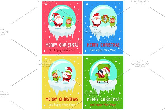 Merry Christmas Happy New Year Santa Elf Banners