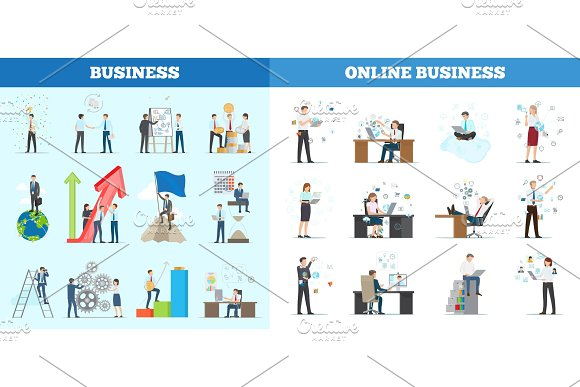 Business Collection of Banners with Multiple Icons in Illustrations