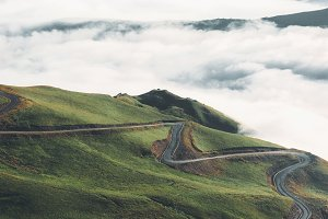 Winding Road In The Mountains Of The