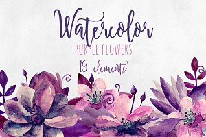 Watercolor purple and pink flowers