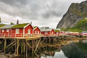 Fishing huts called Rorbu in town of Reine on Lofoten islands