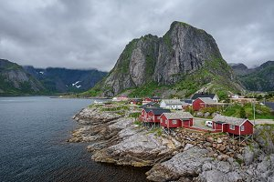 Red rorbu cottages in Hamnoy village, Norway