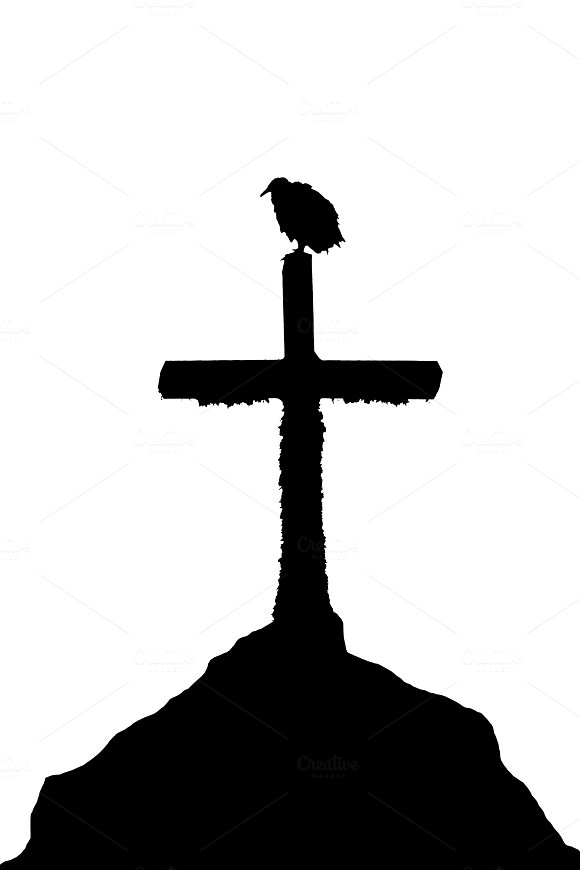 Bird at Top of Cross Church Graphic Silhouette