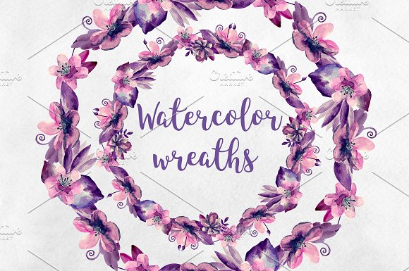 Watercolor purple floral wreaths