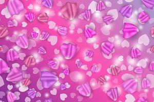 Flying petals and hearts.