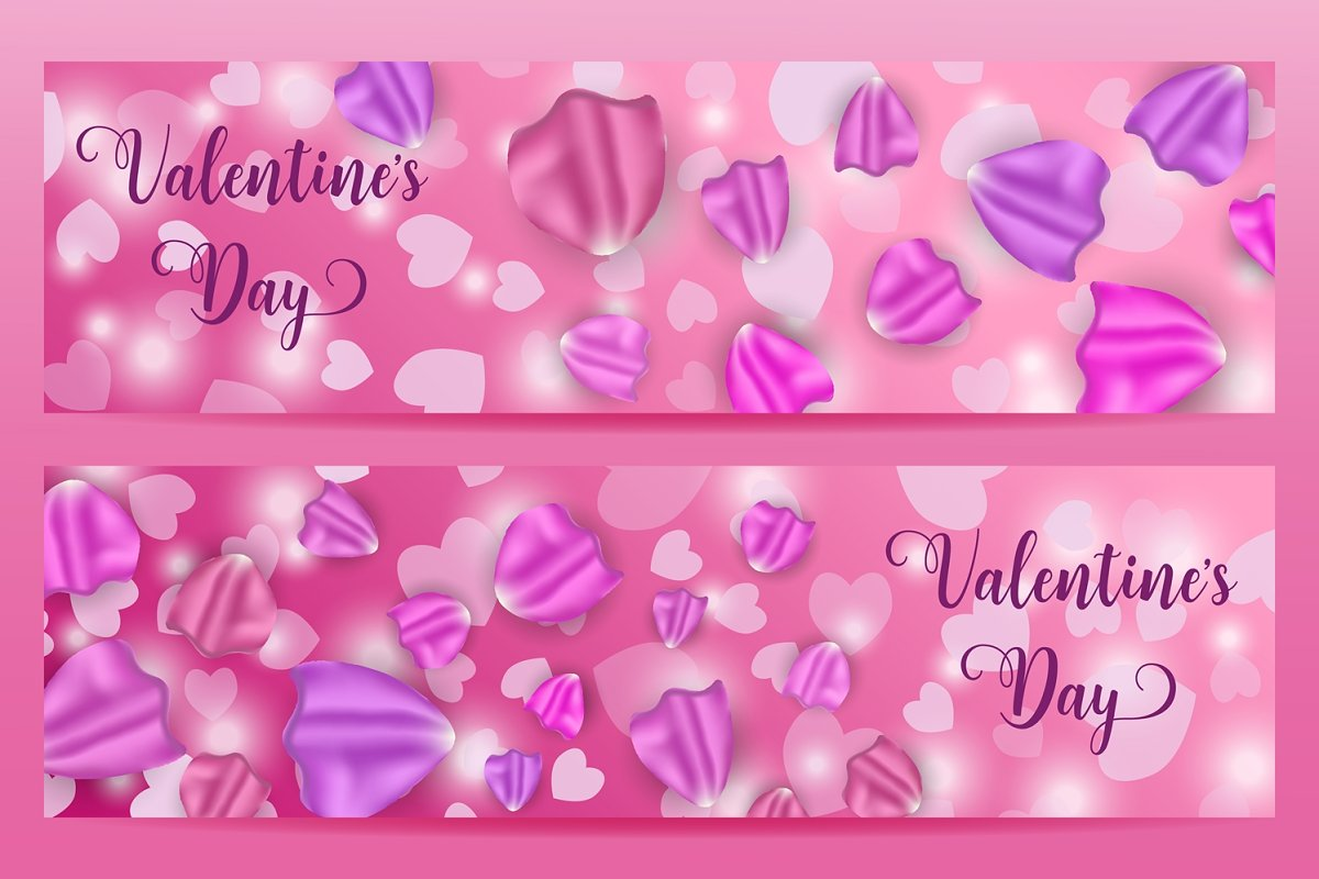 Valentine's day banners with petals.