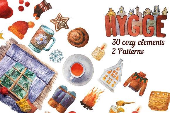 Hygge. Set of cozy elements.