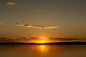 Sunset on the Lake Onega. Petrozavodsk. Karelia