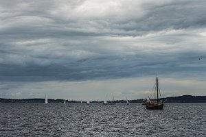 Boats on the Onega Lake