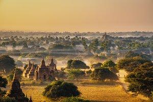 Sunrise above Bagan in Myanmar