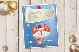 Christmas card with cute fox
