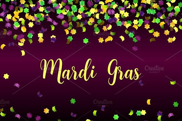 Mardi Gras colorful falling confetti