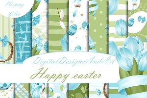 Blue easter digital paper