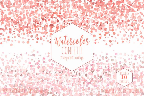 Peach Watercolor Confetti Overlays