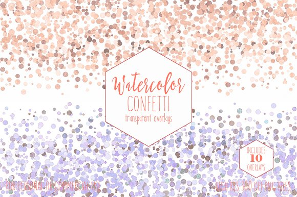Peach Watercolor Confetti Overlays in Objects - product preview 1