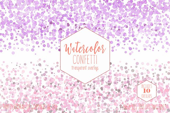 Peach Watercolor Confetti Overlays in Objects - product preview 2