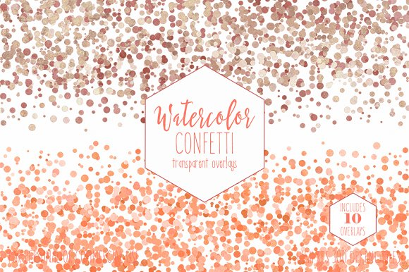 Peach Watercolor Confetti Overlays in Objects - product preview 3