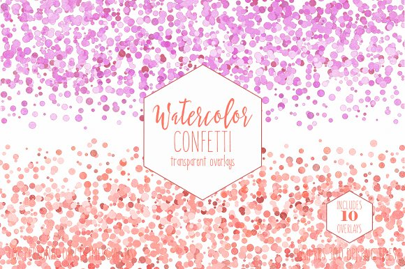 Peach Watercolor Confetti Overlays in Objects - product preview 4