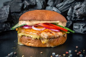 Juicy burger with chicken fillets