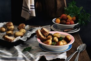 Plate of fried potatoes and bread