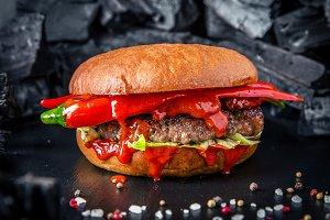 Spicy Burger with beef steak