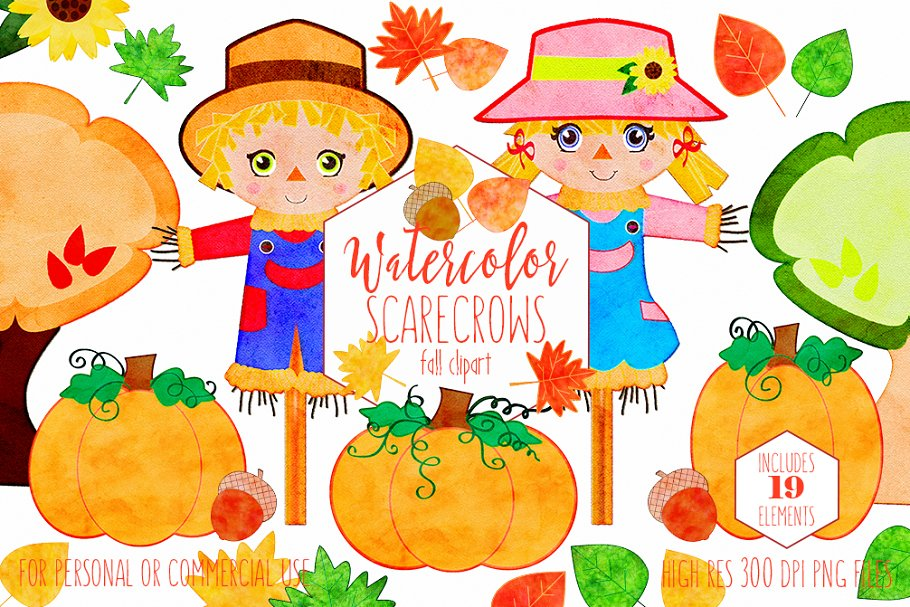 Autumn Watercolor Cute Scarecrows in Illustrations