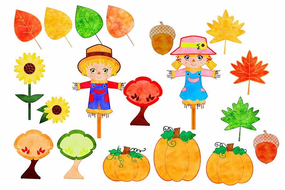 Autumn Watercolor Cute Scarecrows in Illustrations - product preview 1
